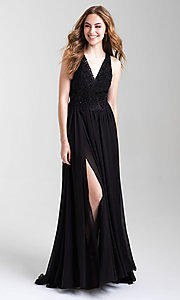 Image of long a-line chiffon prom dress by Madison James. Style: NM-20-325 Detail Image 1