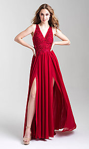 Image of long a-line chiffon prom dress by Madison James. Style: NM-20-325 Detail Image 2