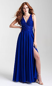 Image of long a-line chiffon prom dress by Madison James. Style: NM-20-325 Detail Image 3