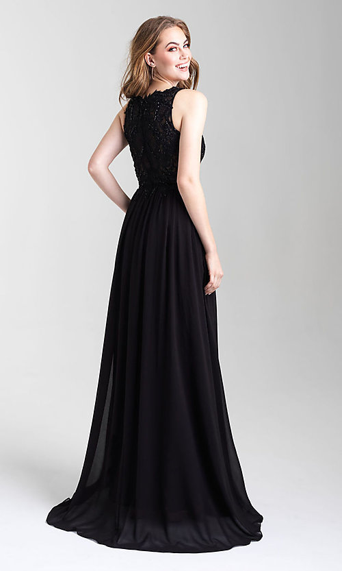 Image of long a-line chiffon prom dress by Madison James. Style: NM-20-325 Back Image
