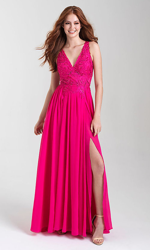 Image of long a-line chiffon prom dress by Madison James. Style: NM-20-325 Front Image