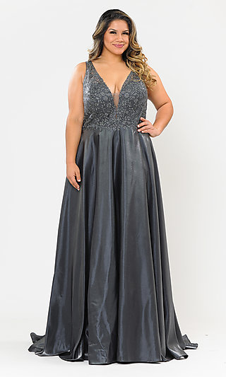Long Lace-Bodice Plus-Size Prom Dress with Pockets
