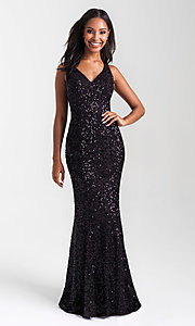 Image of sequin long prom dress with statement open back. Style: NM-20-331 Detail Image 1