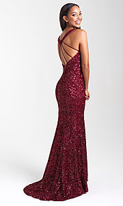 Image of sequin long prom dress with statement open back. Style: NM-20-331 Front Image