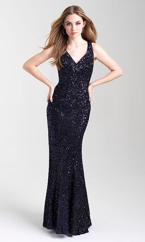 Image of sequin long prom dress with statement open back. Style: NM-20-331 Detail Image 2