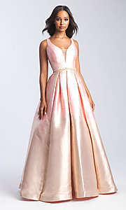 Image of beaded-waist long formal prom dress with corset. Style: NM-20-333 Front Image