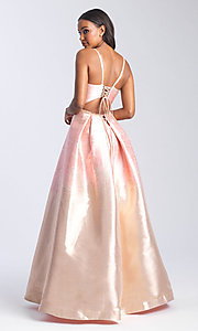 Image of beaded-waist long formal prom dress with corset. Style: NM-20-333 Back Image