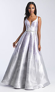 Image of beaded-waist long formal prom dress with corset. Style: NM-20-333 Detail Image 2