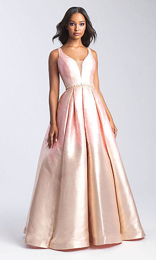 Beaded-Waist Long Formal Prom Dress with Corset
