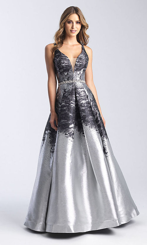 Image of beaded-waist long formal prom dress with corset. Style: NM-20-333 Detail Image 1