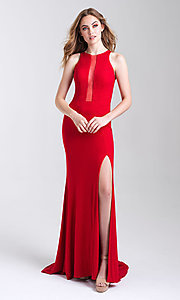 Image of long glitter tight prom dress with statement back. Style: NM-20-339 Back Image