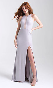 Image of long glitter tight prom dress with statement back. Style: NM-20-339 Detail Image 2