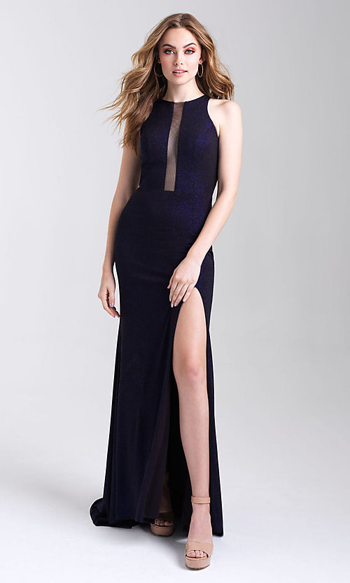 Image of long glitter tight prom dress with statement back. Style: NM-20-339 Detail Image 1