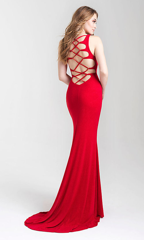Image of long glitter tight prom dress with statement back. Style: NM-20-339 Front Image