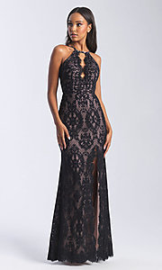 Image of Madison James long lace prom dress with cut out. Style: NM-20-340 Detail Image 1