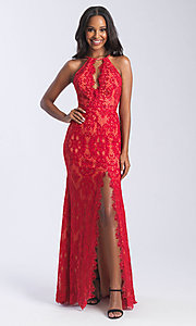 Image of Madison James long lace prom dress with cut out. Style: NM-20-340 Front Image