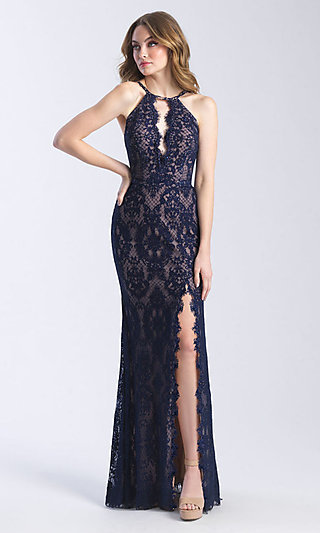 Madison James Long Lace Prom Dress with Cut Out