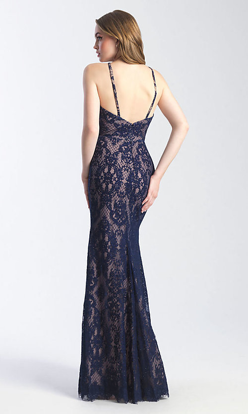 Image of Madison James long lace prom dress with cut out. Style: NM-20-340 Back Image