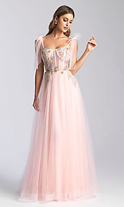Image of corset-bodice long formal prom dress with bows. Style: NM-20-343 Front Image