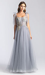 tulle corsetbodice long formal prom dress  promgirl