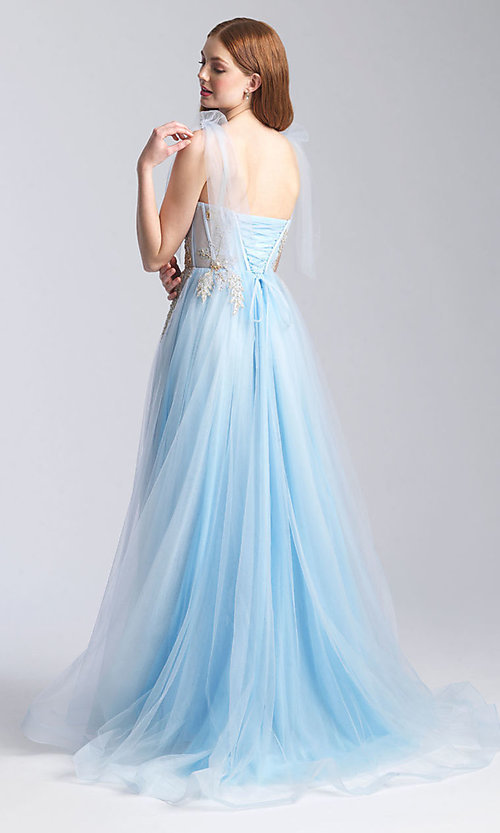 Image of corset-bodice long formal prom dress with bows. Style: NM-20-343 Back Image
