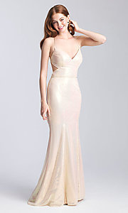 Image of open-back sparkly sequin prom dress with cut outs. Style: NM-20-345 Front Image