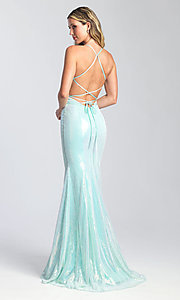 Image of open-back sparkly sequin prom dress with cut outs. Style: NM-20-345 Detail Image 2