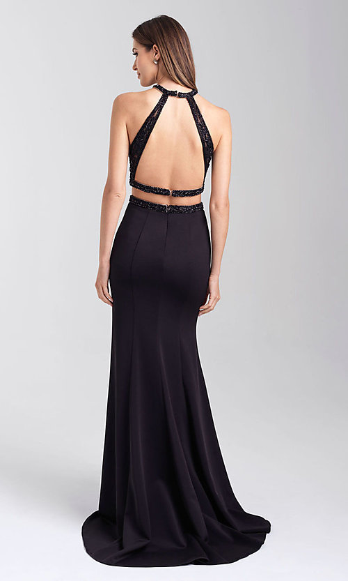 Image of long satin two-piece prom dress with beading. Style: NM-20-348 Back Image