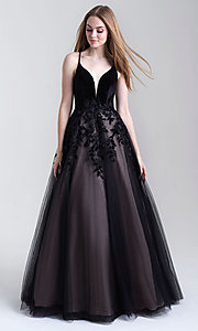 Image of a-line tulle long prom dress with velvet bodice. Style: NM-20-351 Front Image