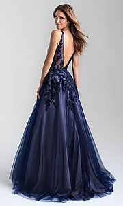 Image of a-line tulle long prom dress with velvet bodice. Style: NM-20-351 Back Image