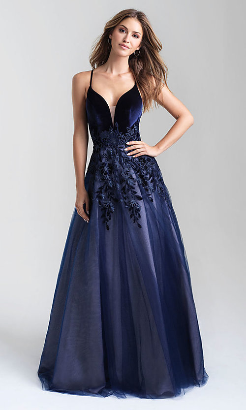 Image of a-line tulle long prom dress with velvet bodice. Style: NM-20-351 Detail Image 1
