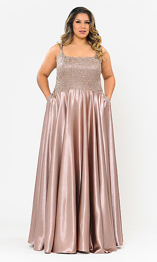 Plus-Size Long Embroidered-Lace-Bodice Prom Dress