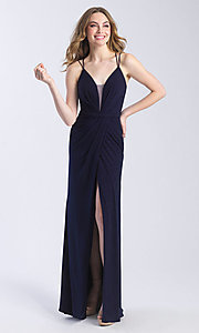 Image of long deep-v-neck glitter faux-wrap prom dress. Style: NM-20-356 Detail Image 1