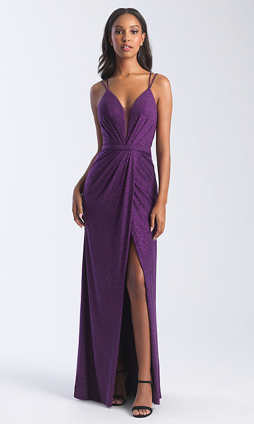 Image of long deep-v-neck glitter faux-wrap prom dress. Style: NM-20-356 Front Image