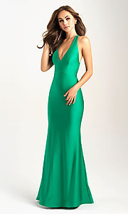 Image of long open-back Madison James tight prom dress. Style: NM-20-358 Detail Image 3