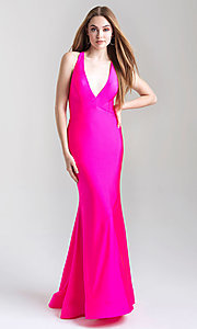 Image of long open-back Madison James tight prom dress. Style: NM-20-358 Detail Image 4