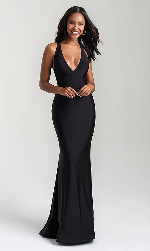Image of long open-back Madison James tight prom dress. Style: NM-20-358 Detail Image 1