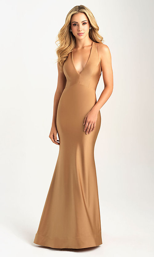 Image of long open-back Madison James tight prom dress. Style: NM-20-358 Detail Image 2