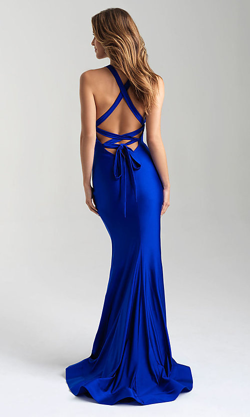 Image of long open-back Madison James tight prom dress. Style: NM-20-358 Front Image