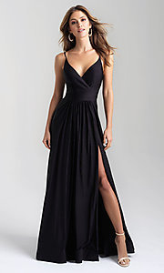 Image of a-line flowing long prom dress by Madison James. Style: NM-20-359 Front Image