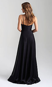 Image of a-line flowing long prom dress by Madison James. Style: NM-20-359 Back Image