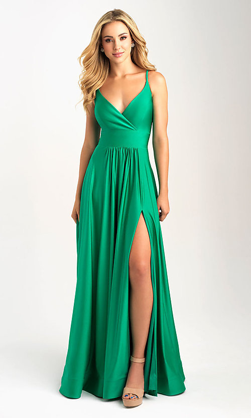 Image of a-line flowing long prom dress by Madison James. Style: NM-20-359 Detail Image 2