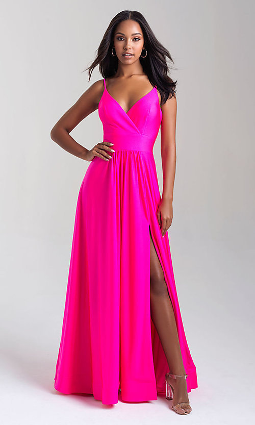 Image of a-line flowing long prom dress by Madison James. Style: NM-20-359 Detail Image 3