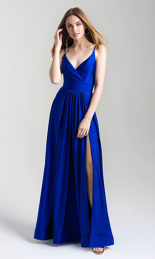 Image of a-line flowing long prom dress by Madison James. Style: NM-20-359 Detail Image 4