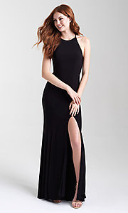 Image of classic fitted high-neck Madison James prom dress. Style: NM-20-371 Front Image