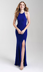 Image of classic fitted high-neck Madison James prom dress. Style: NM-20-371 Detail Image 3
