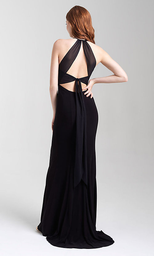 Image of classic fitted high-neck Madison James prom dress. Style: NM-20-371 Back Image