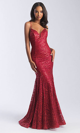 Sequin Backless Prom Dress with Criss-Crossing Straps