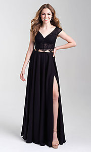 Image of cap-sleeve lace-top two-piece long prom dress. Style: NM-20-377 Front Image