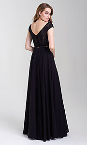 Image of cap-sleeve lace-top two-piece long prom dress. Style: NM-20-377 Back Image